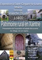 """""""PATRIMOINE RURAL EN XAINTRIE"""" : EXPOSITION  -  INAUGURATION et SORTIE - DÉCOUVERTE"""